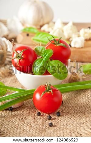 bowl of fresh cherry tomatoes - stock photo