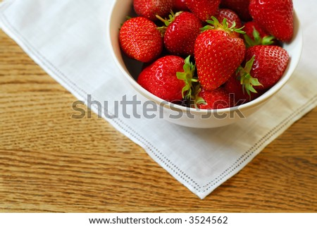 Bowl of fresh-picked ripe strawberries