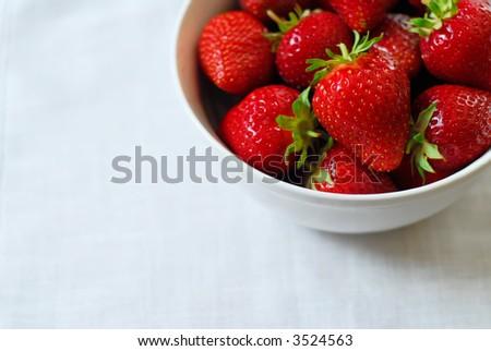 Bowl of fresh-picked ripe strawberries