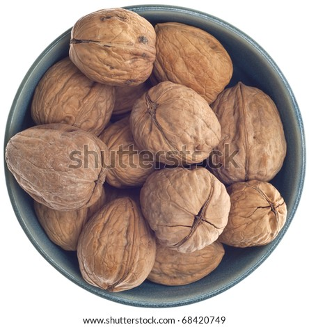 Bowl of Fresh Walnuts Isolated on White with a Clipping Path. - stock photo