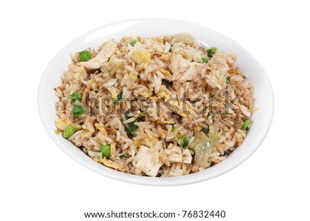 Bowl of Fried Rice on White Background