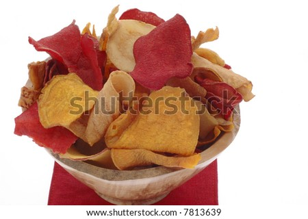 Bowl of healthy colorful exotic vegetable chips.