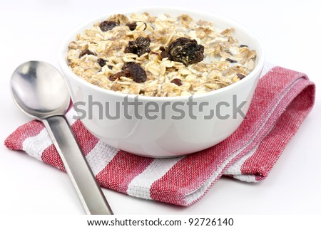 Bowl of healthy granola cereal for breakfast