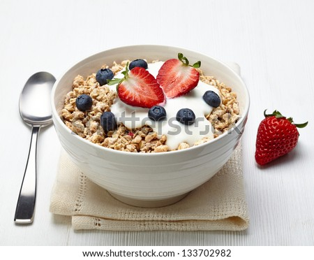 Bowl of healthy muesli with yogurt and fresh berries