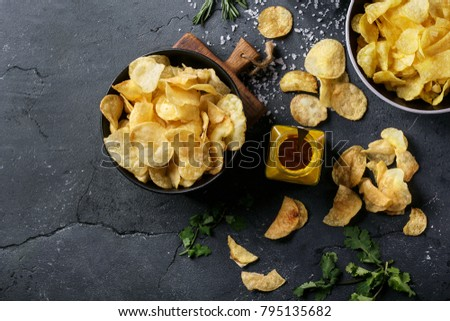 bowl of home made potato chips...