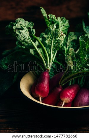 Bowl of homegrown red radish on wooden table