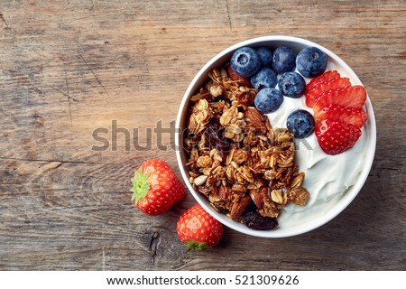 Shutterstock Bowl of homemade granola with yogurt and fresh berries on wooden background from top view