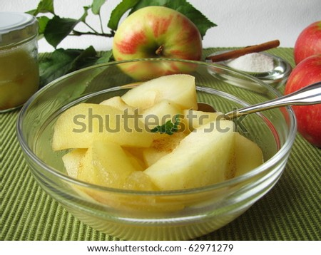 Bowl of homemade stewed apples