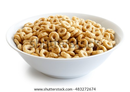 Shutterstock Bowl of honey cheerios isolated on white.