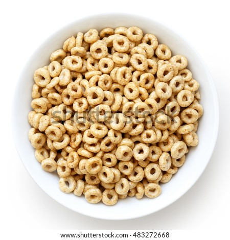 Shutterstock Bowl of honey cheerios isolated on white from above.
