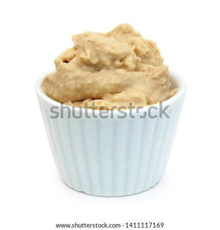 Bowl of hummus isolated on white background ストックフォト ©