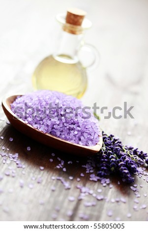 bowl of lavender bath salt and massage oil - beauty treatment