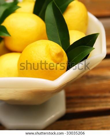 bowl of lemons, shallow depth of field