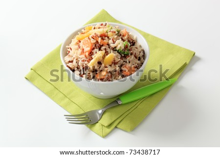 Bowl of mixed rice with vegetables - studio