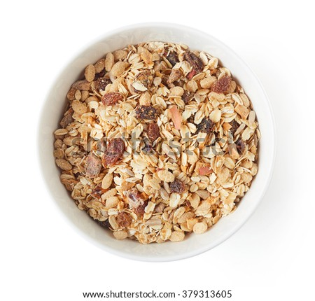 Bowl of muesli isolated on white background, top view Foto stock ©