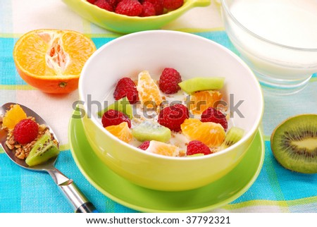 bowl of muesli with fresh fruits as diet food - stock photo