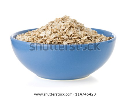 bowl of oat flake isolated on white background
