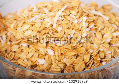 bowl of oats -close up, healthy eating - stock photo