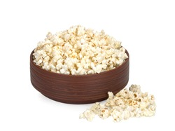 Bowl of popcorn, isolated on white background