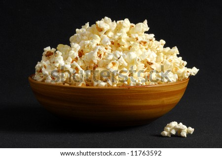 Bowl of popcorn with a dark background
