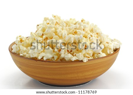Bowl of popcorn with a white background