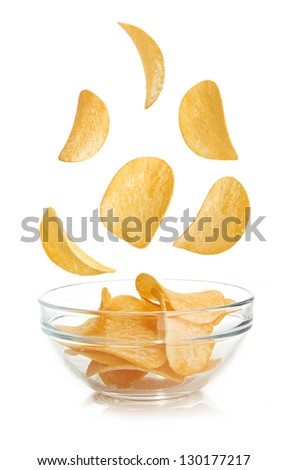 Bowl of potato chips isolated on a white