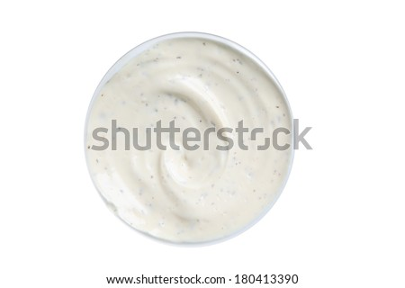 Bowl of ranch dip, cut out on white background