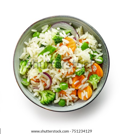 bowl of rice and vegetables isolated on white background, top view