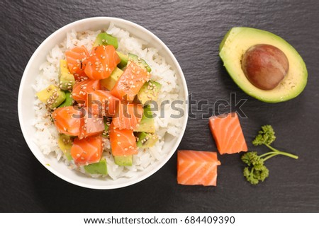bowl of rice with avocado and salmon