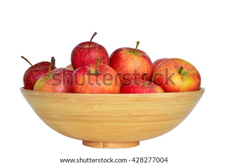 Bowl of ripe red apples isolated on white background. Wooden bowl of red apples.  Stock photo ©