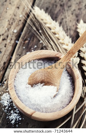Bowl of salt with small wooden spoon