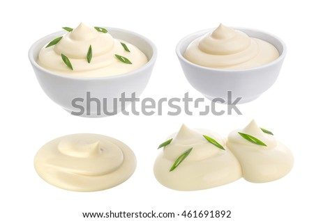 Bowl of sour cream isolated on white #461691892