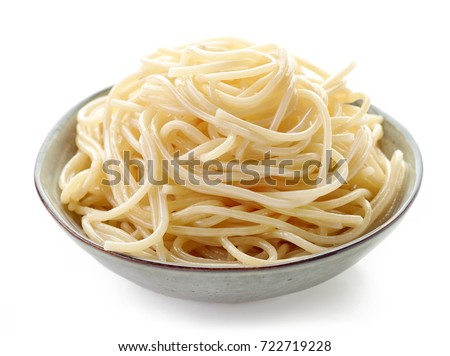 Bowl of spaghetti isolated on white background