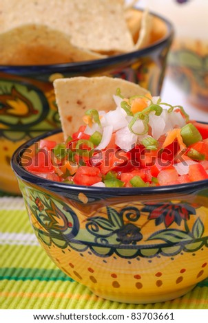 Bowl of spicy salsa with tomato, garlic and Serrano pepper