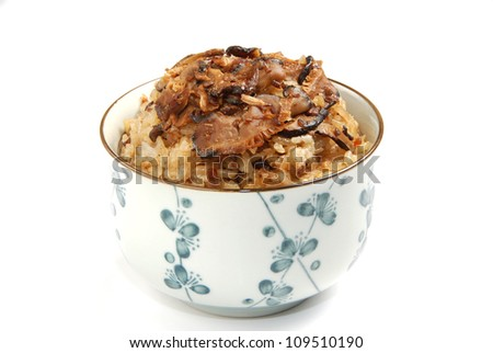 Bowl of sticky rice on white background