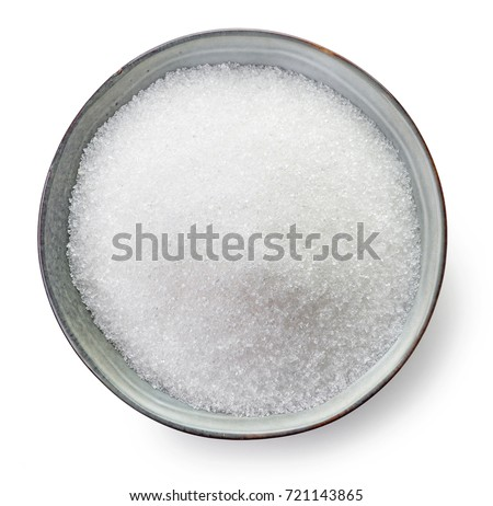 Bowl of sugar isolated on white background, top view #721143865