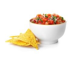 Bowl of tasty Pico de Gallo salsa and nachos on white background