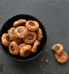 Bowl of thumbprint cookies, selected focus