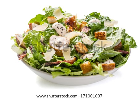 Shutterstock Bowl of Traditional Caesar Salad with Chicken and Bacon isolated on White Background