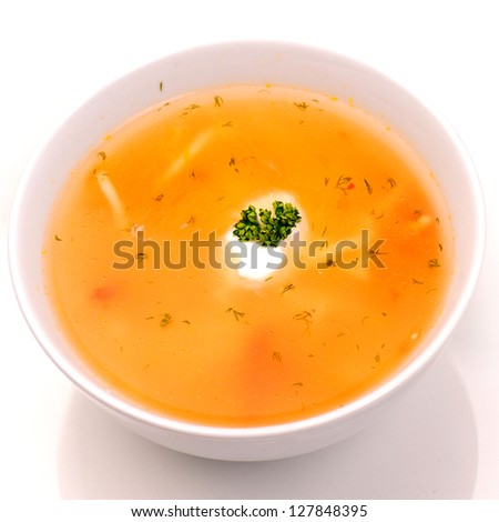 Bowl of vegetable soup.