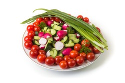 bowl of vegetables isolated on white