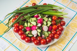 bowl of vegetables on a napkin