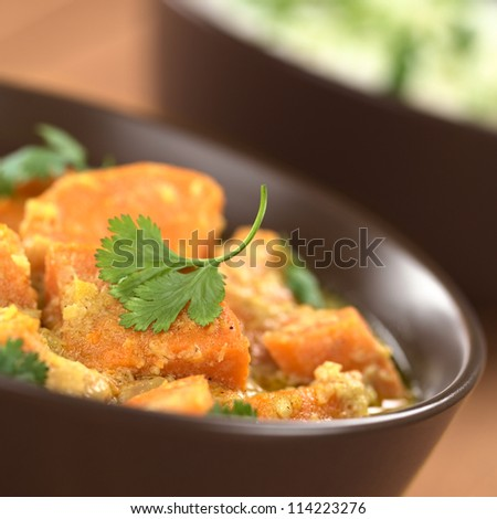 Bowl of vegetarian sweet potato and coconut curry garnished with a cilantro leaf, cooked rice in the back (Selective Focus, Focus on the front of the cilantro leaf)