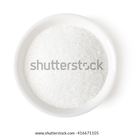 bowl of white sugar isolated on ...
