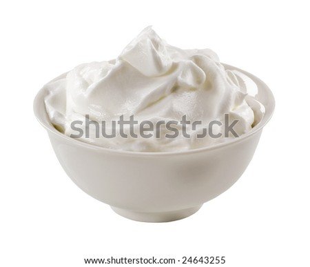 Bowl of white yoghurt
