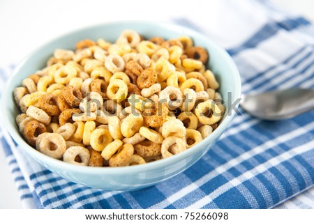 Bowl of Whole Grain Cheerios Cereal