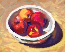 Bowl with apples ,digital painting