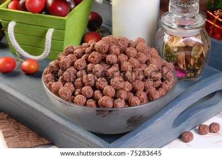 Bowl with chocolate cereals and milk
