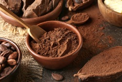 Bowl with cocoa powder on table