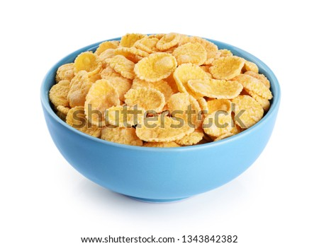 Bowl with cornflakes isolated on white background. With clipping path. #1343842382